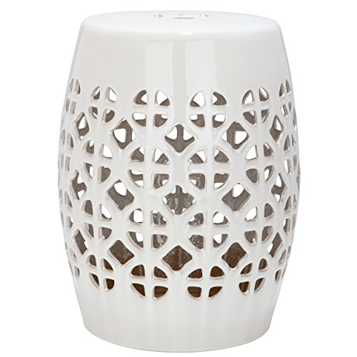 Safavieh Castle Gardens Collection Circle Lattice Cream Ceramic Garden Stool (Ceramic Table Side)