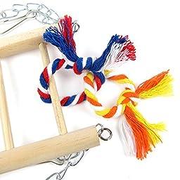 Alfie Pet by Petoga Couture - Eddie Double Layer Wooden Bridge Ladder for Birds - Color: Pink