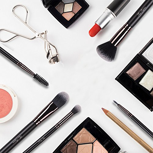 Makeup Brush Set 10pcs Professional Makeup Kit for Powder Mineral Foundation Blending Blush Buffing Perfect for Contouring Fan Brush Eyelash Mascara Wands Brush