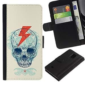 EJOY---Tirón de la caja Cartera de cuero con ranuras para tarjetas / Samsung Galaxy S5 Mini, SM-G800 / --Cráneo Rayo Cresta Patrón