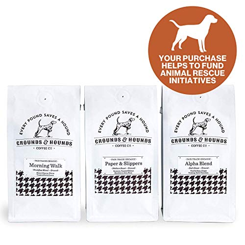 Grounds & Hounds Three Blend Starter Kit -100% Fair Trade Organic Ground Coffee Variety Pack - Includes Three 6 oz. bags of our Most Popular Ground Coffee Blends