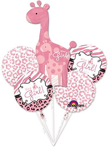 Girl Baby Shower Balloon Bouquet - Sweet Safari Girl Balloons - 5 Count -