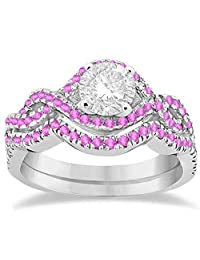 Pink Sapphire Infinity Halo Engagement Ring and Band Set Palladium (0.60ct) (No center stone included)