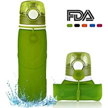 MyFriday Travel Collapsible Water Bottle 750ml/500ml Silicone Foldable Canteen with Leak Proof Valve, Medical Grade - 100% BPA Free
