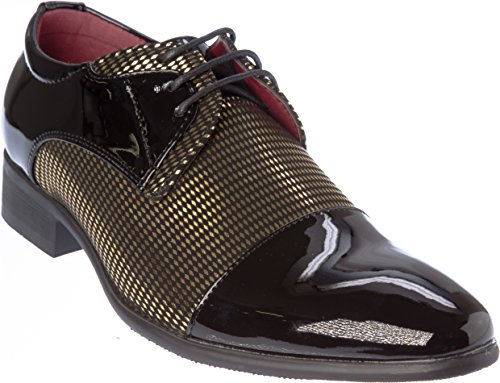 novak01 Mens Lace-Up Oxford Black-Gold Dress-Shoes Size 8.5