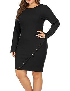 2d8f8df79b Allegrace Women Plus Size Long Sleeve Knit Sweater Midi Dress Metal Button  Up Party Dresses