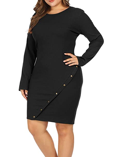 Allegrace Women Plus Size Long Sleeve Knit Sweater Midi Dress Metal Button  Up Party Dresses