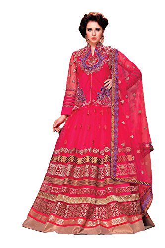 IWS Womens Fancy Fabric Pink Color Pretty Circular Lehenga Style 79619