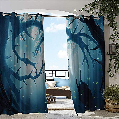 Halloween Horror Nights Coupons (GUUVOR Balcony Curtains, Animal with Burning Eyes in Dark Forest at Night Horror Halloween Illustration, Outdoor Patio Curtains Waterproof with Grommets W72 x L108 Inch LNavy and)