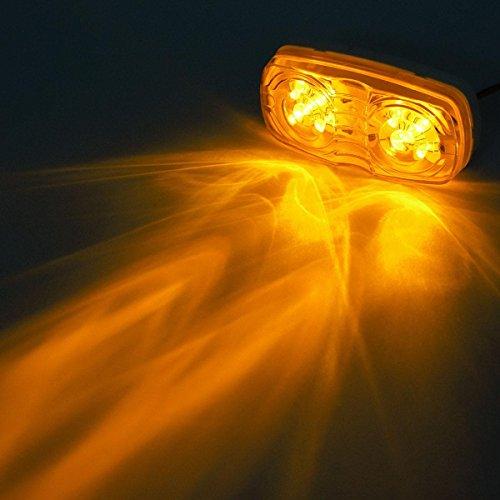 Partsam Five Trailer Marker LED Light Double Bullseye Amber 10 Diodes Clearance Light by Partsam (Image #7)