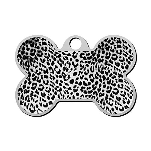 GcTck Personalized Double Sided Print Leopard Dog Tags Pet ID Tag,Customizable Information Pet Badge for Dogs Cats