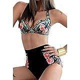 Zmart Women's Two Pieces High Waist floral Print Bikini Swimsuit,Black,M(US 8-10)