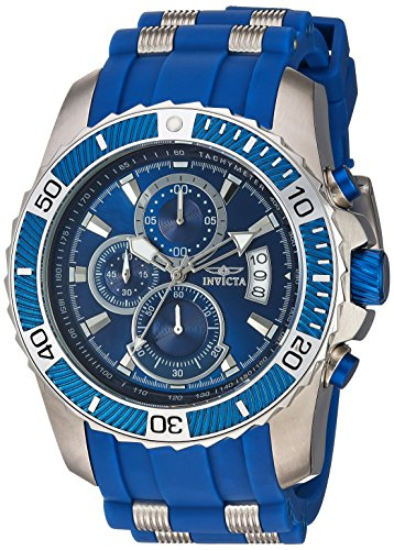 Invicta Men's Pro Diver Stainless Steel Quartz Watch with Polyurethane Strap, Blue, 25 (Model: 22429) (Watch Invicta Replacement)