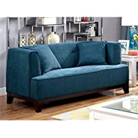 Furniture of America Waylin Tufted Fabric Loveseat in Dark Teal