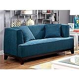 Furniture of America Waylin Tufted Fabric Loveseat in Dark Teal