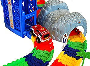 Super Snap Speedway - Deluxe bend and flex track set with 3 electric cars, tunnels, bridge, elevator, ramp, track merge and accessories - over 318 pieces