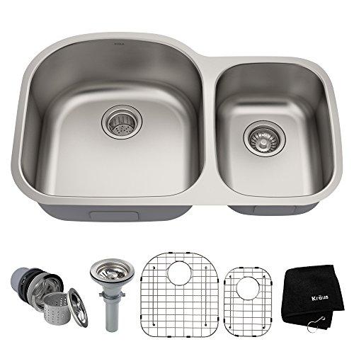 (Kraus KBU23 32 inch Undermount 60/40 Double Bowl 16 gauge Stainless Steel Kitchen Sink)
