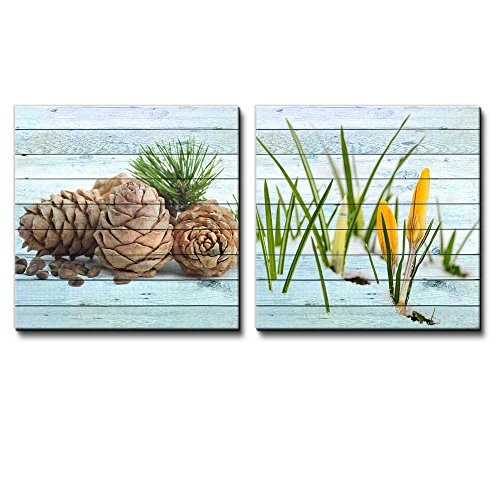 Pine Cones and Seeds Along with Yellow Flowers Blooming on the Snow Over Wooden Panels