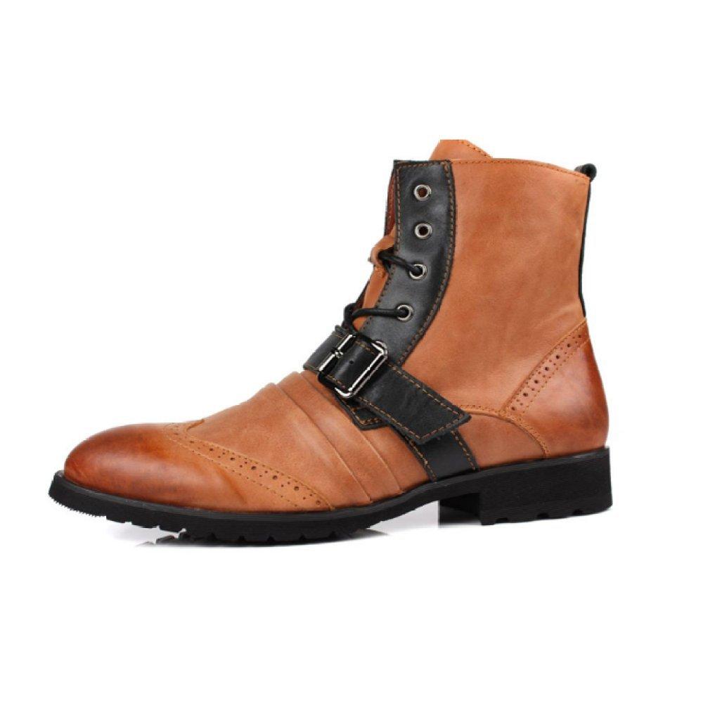 Oxford Zapatos Británicos Zapatos Coreanos Botas Martin Moda Zapatos con Cordones Zapatos De Tendencia Botas De Chelsea Cabeza Redonda Techo Alto 41 EU|Khaki