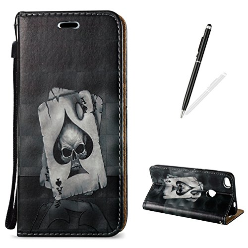 Huawei P8 Lite 2017 Wallet Case [Free Black Touch Stylus],KaseHom 3D Pattern Design Folio Magnetic Flip Stand PU Leather Protective Case Cover Skin Shell,Ace of Spades -