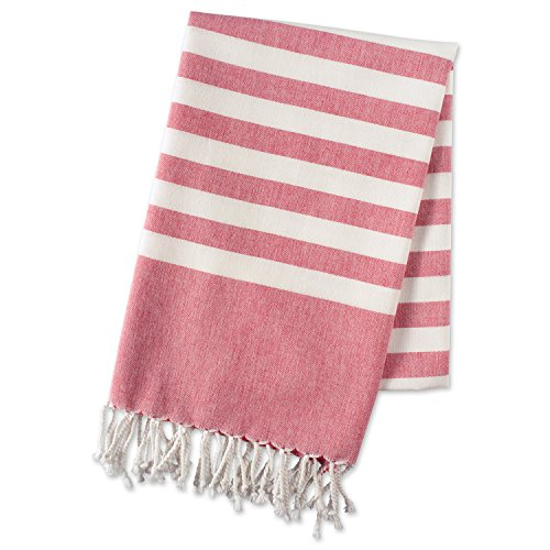 E-Living Store FBA43921 100% Cotton, Soft & Absorbent Decorative Turkish Fouta Towel with Twisted Fringe for Home, Beach, Pool, or Décor, Use As Blanket or Throw, Coral (Towels Beach Cute)