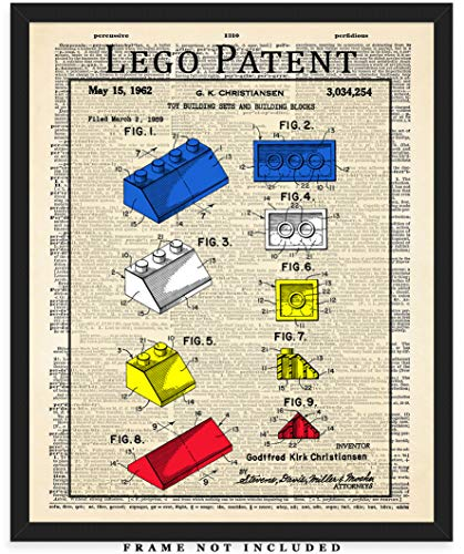Vintage Lego Block Dictionary Wall Art Print: Unique Room Decor for Boys, Men, Girls & Women - (8x10) Unframed Picture - Great Gift Idea -