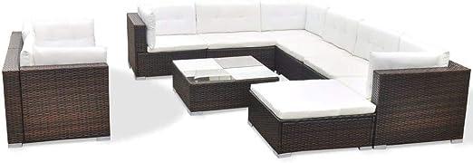 vidaXL Conjunto de Muebles de Jardín 10 Piezas Ratán Sintético Marrón Juego Comedor Exterior Mesa y Sillas Patio Porche Terraza Material Estilo Mimbre: Amazon.es: Jardín