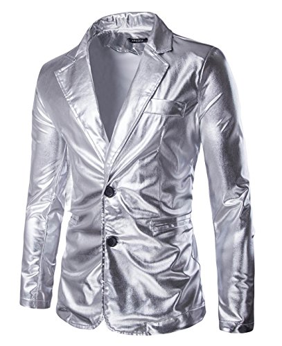 MADA Mens Slim Fit Metallic Color Performance Suit Jackets/Night Club Blazers