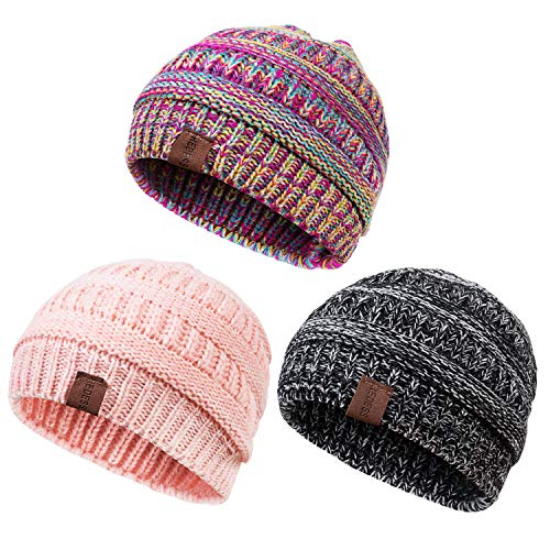 (REDESS Baby Kids Winter Warm Fleece Lined Hats, Infant Toddler Children Beanie Knit Cap Girls)