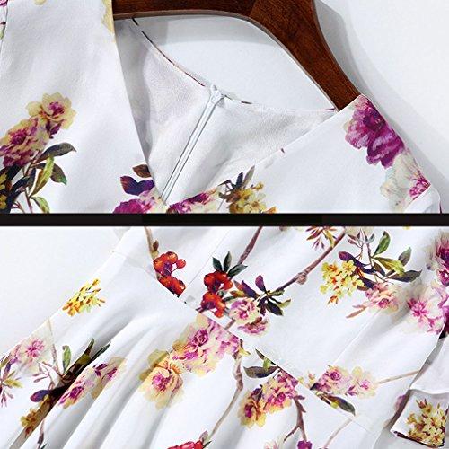 Damen Taille Weiß V Mini Partykleider Ausschnitt Enge Kurze Honghu Ärmel O4SnTTa