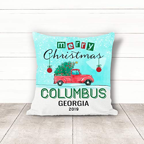 Christmas Pillow Covers 18 x 18 Inches Merry Christmas 2019 Columbus Georgia GA Pillow Decorations for Xmas Autumn Pillow Covers Home Decor Design for Sofa Bedroom