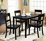 Target Marketing Systems Ian Collection 5 Piece Indoor Kitchen Dining Set with 1 Dining Table and 4 Chairs, Black