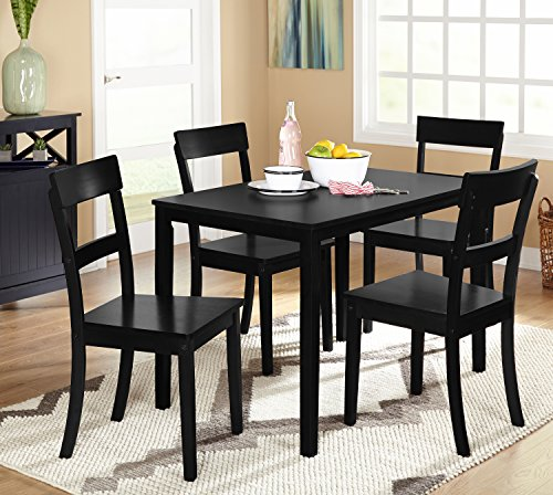 Target Marketing Systems Ian Collection 5 Piece Indoor Kitchen Dining Set with 1 Dining Table and 4 Chairs, Black (5 Piece Dining Collection)
