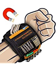 Magnetic Wristband Best DIY Gift - Gifts Tool for Men Magnetic Tool Wristband with 15 Powerful Magnets, Father Carpenter Men Gadgets Gifts Magnetic Wristband for Holding Nails Screws Drill ect (1,OG)