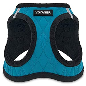 Voyager by Best Pet Supplies - Step-in Plush Dog Harness with Padded Vest , (Turquoise Plush Base, Medium)