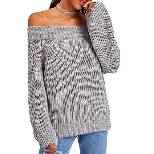 XOWRTE Women's Cotton Slash Neck Strapless Long Sleeve Knit Pullover Sweater Tops -
