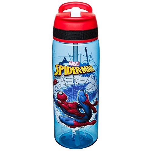 Spider Man Water Bottle - Zak Designs SDNU-S830-AMZ Marvel Comics Water Bottles, Tritan Straw, Spiderman