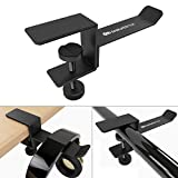 Headphone Headset Stand Holder, 6amLifestyle Universal Metal Gaming Headphones Hanger Mount Under Desk Hook Clip with Adjustable Clamp for All Headsets, Black(Patented)
