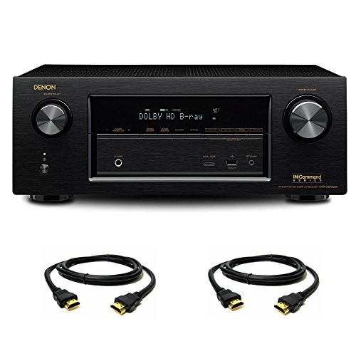 Denon AVR-X2100W 7.2 Channel Full 4K Ultra HD A/V Receiver with Bluetooth and Wi-Fi with a Pair of HDMI Cables by Denon