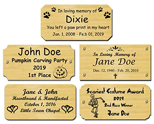 Solid Brass Satin Finish Personalized Custom Laser Engraved Nameplate Label Art Tag Sign Notched Square or Round Corners, Halloween Costume Pumpkin Carving Award Plates, Made in USA (Outdoor Benches Plaques For)