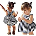 Gotd Baby Girls Sunsuit Outfit Stripe Backless Dress + Brief Infant Clothes