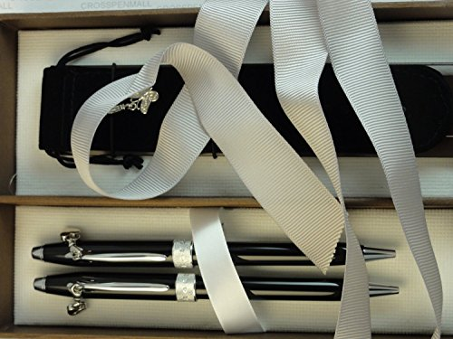Textured Lacquer (Cross Century II Rare Executive Companion Sentiment Pearlescent Black Lacquer and Glittering Pavé-textured Band Ballpoint Pen and Pencil Set with Four Interchangeable Charms)