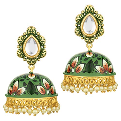 Aheli Classy Enamel Jhumki Ethnic Wedding Wear Floral Printed Drop Dangle Earrings Indian Bollywood Fashion Jewelry for Women (Green)