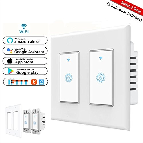 2 Gang Dimmer Switch - Smart Wifi Switch, Wireless Smartphone Remote Control Wall Light Switch, Works with Amazon Alexa Google Home Android IOS from Anywhere Timing Function No Hub Required (smart light switch 2-Gang)