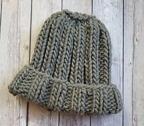 Olive Green Chunky Oversized Beanie Hat Handmade Merino Wool Acrylic with (Brim Olive)