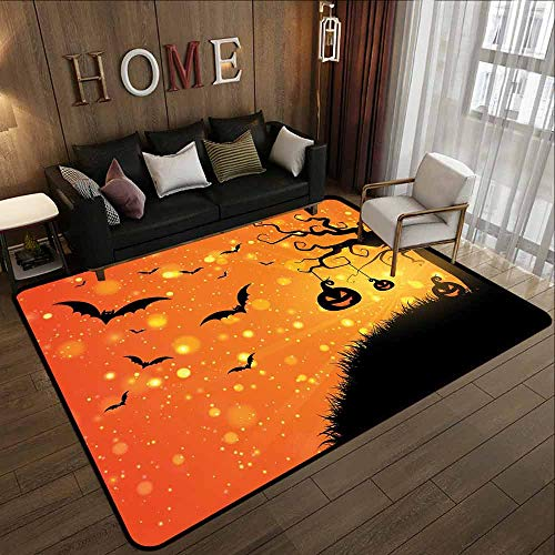 Living Room Rug,Halloween,Super Absorbs Mud,4'11