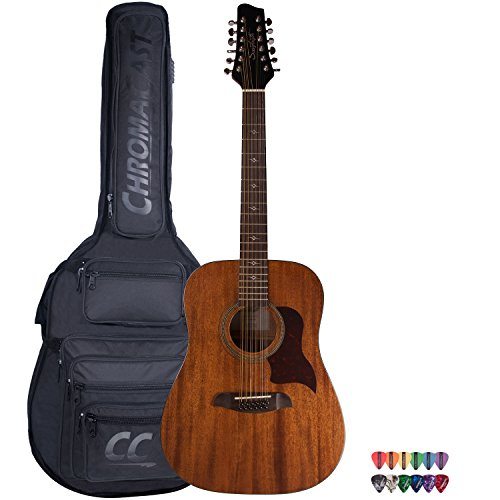 Sawtooth Mahogany Series 12-String Solid Mahogany Top Acoustic-Electric Dreadnought Guitar with Padded Gig Bag and Pick Sampler