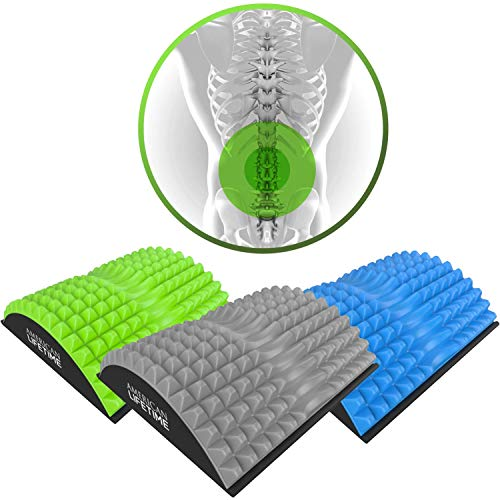 American Lifetime Lower Back Stretcher - Massage for Chronic Lumbar Pain Relief Treatment - Helps with Spinal Stenosis Sciatica Herniated Disc and Neck Muscle Pain - 1 Year Warranty - Grey