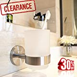 Toothbrush Holder Wall Mounted Toothpaste Holder Wall for Powder Room Bathroom Hotel LUTAVOY LC17