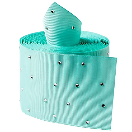 Glitter Stone Grosgrain Ribbons Mini Dot Rhinestones for Handmade Cheer Large Hair Bow, Gift Wrapping, Party Deco Wedding Supplies, 3 inch Width, 5 Yards (Aqua)